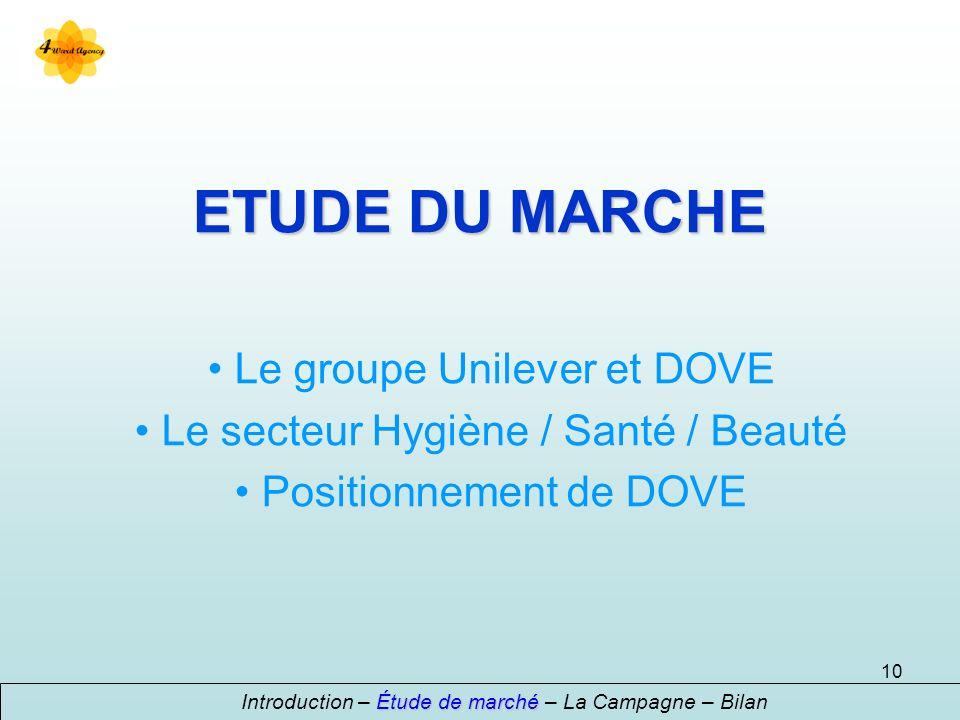 ETUDE DU MARCHE Le groupe Unilever et DOVE