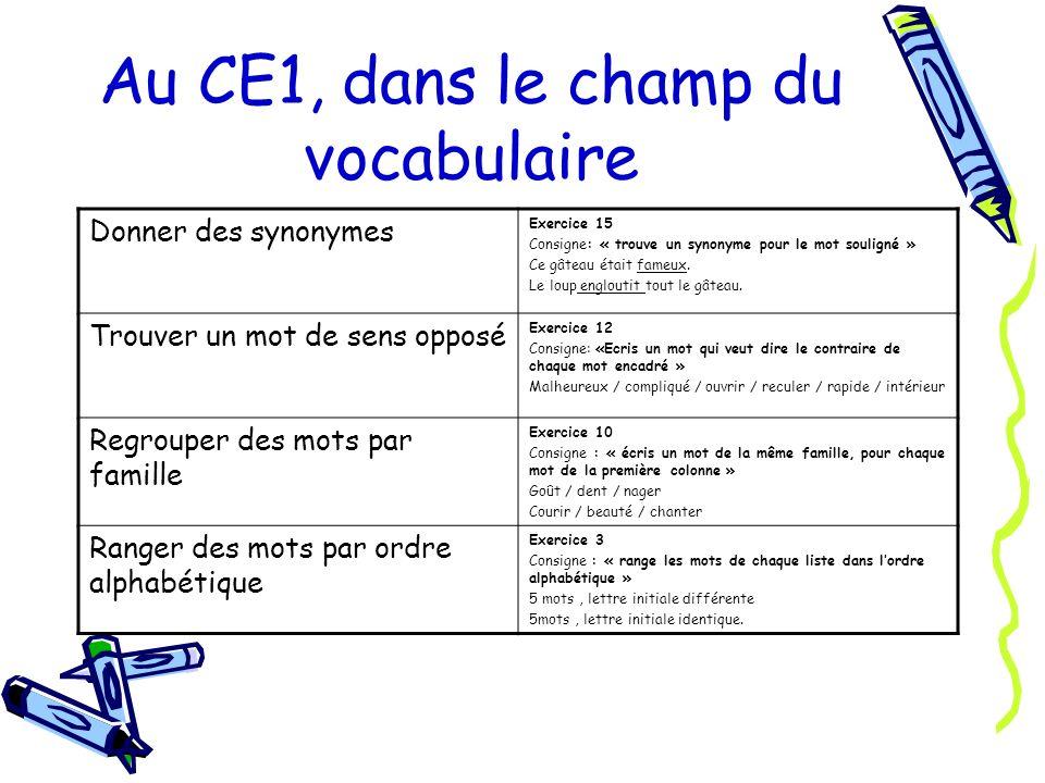Au CE1, dans le champ du vocabulaire