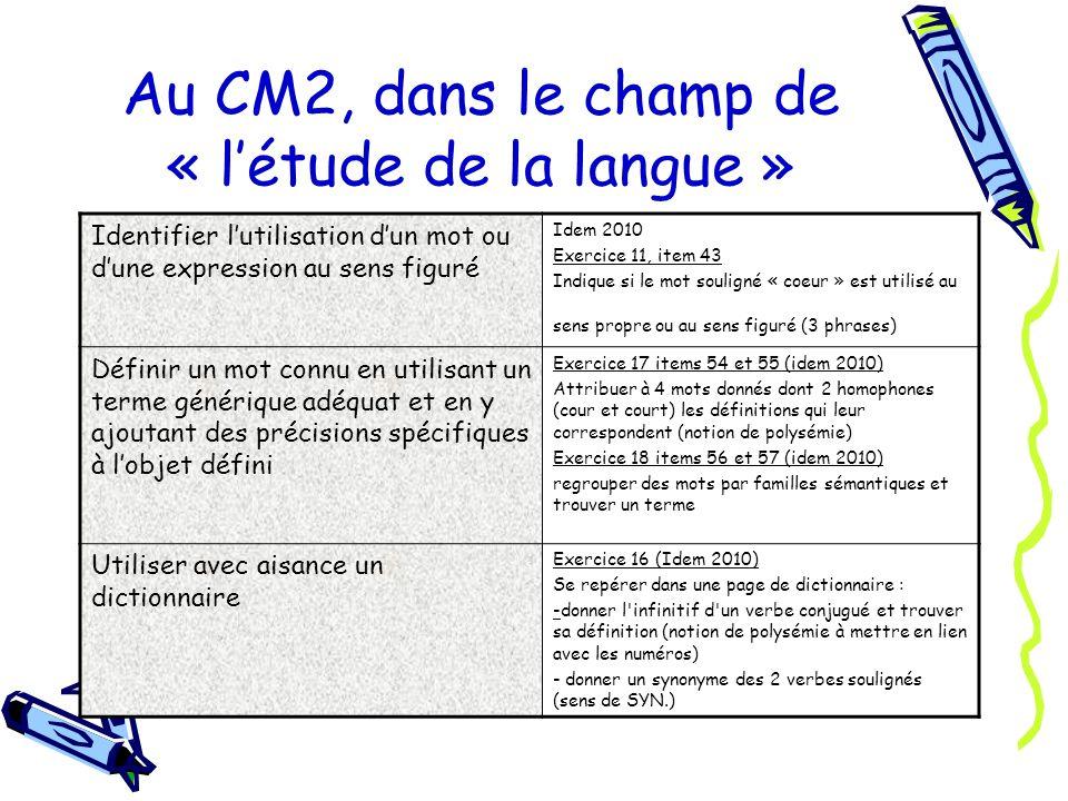Au CM2, dans le champ de « l'étude de la langue »