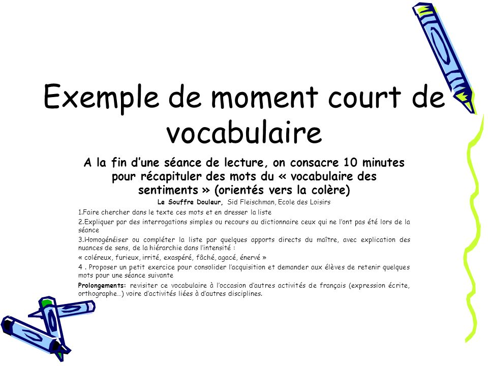 Exemple de moment court de vocabulaire