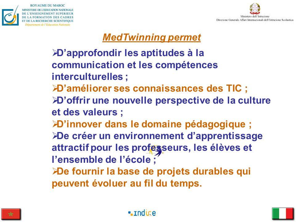 MedTwinning permetD'approfondir les aptitudes à la communication et les compétences interculturelles ;