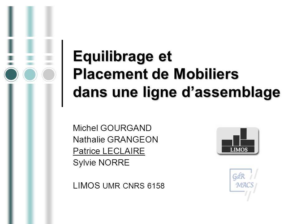 Equilibrage et Placement de Mobiliers dans une ligne d'assemblage
