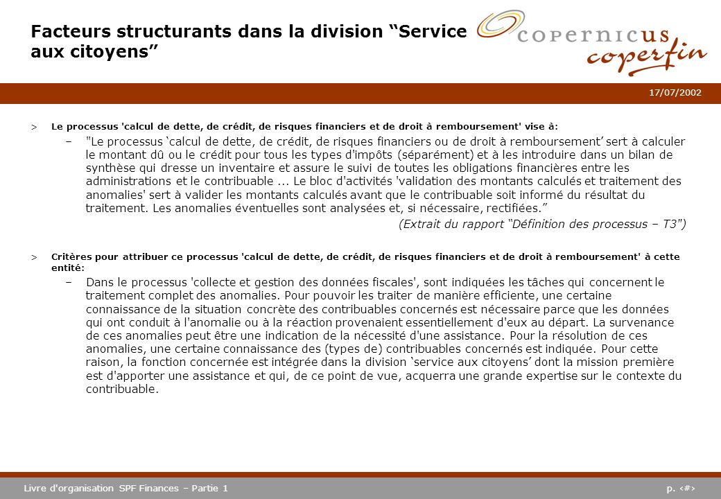 Facteurs structurants dans la division Service aux citoyens