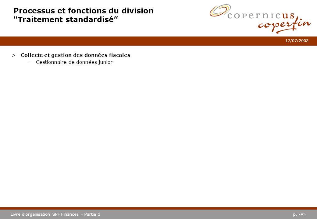 Processus et fonctions du division Traitement standardisé