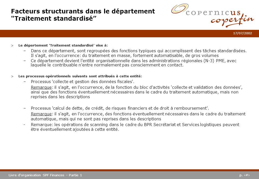 Facteurs structurants dans le département Traitement standardisé