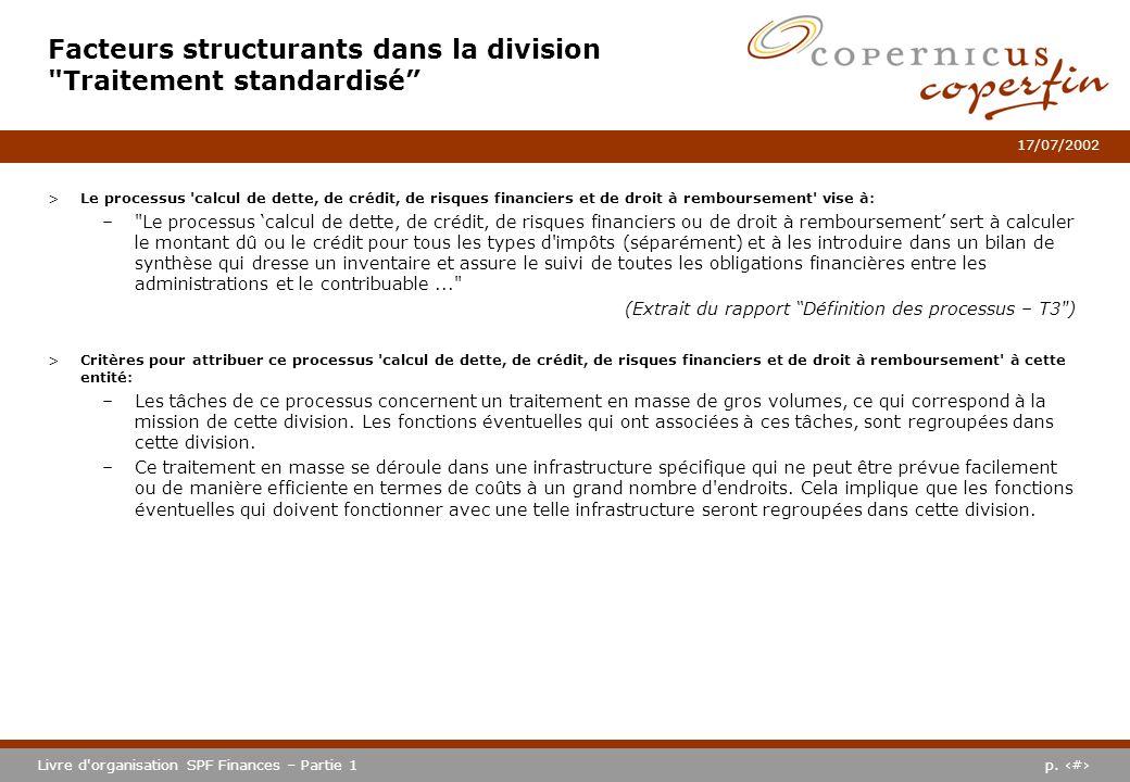 Facteurs structurants dans la division Traitement standardisé