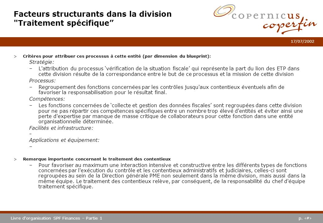 Facteurs structurants dans la division Traitement spécifique