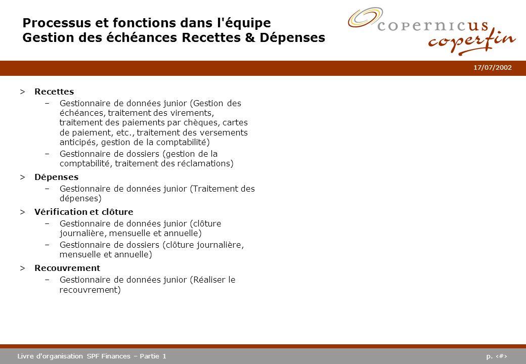 Processus et fonctions dans l équipe Gestion des échéances Recettes & Dépenses