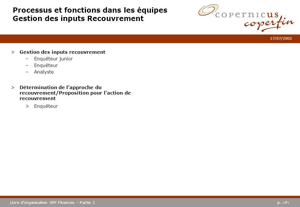 Processus et fonctions dans les équipes Gestion des inputs Recouvrement