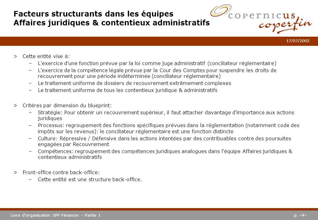 Facteurs structurants dans les équipes Affaires juridiques & contentieux administratifs