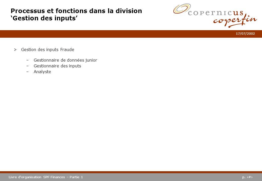 Processus et fonctions dans la division 'Gestion des inputs'