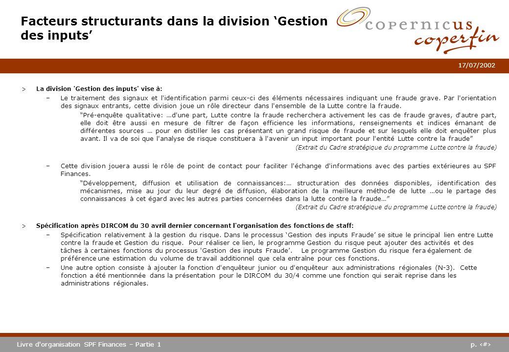 Facteurs structurants dans la division 'Gestion des inputs'