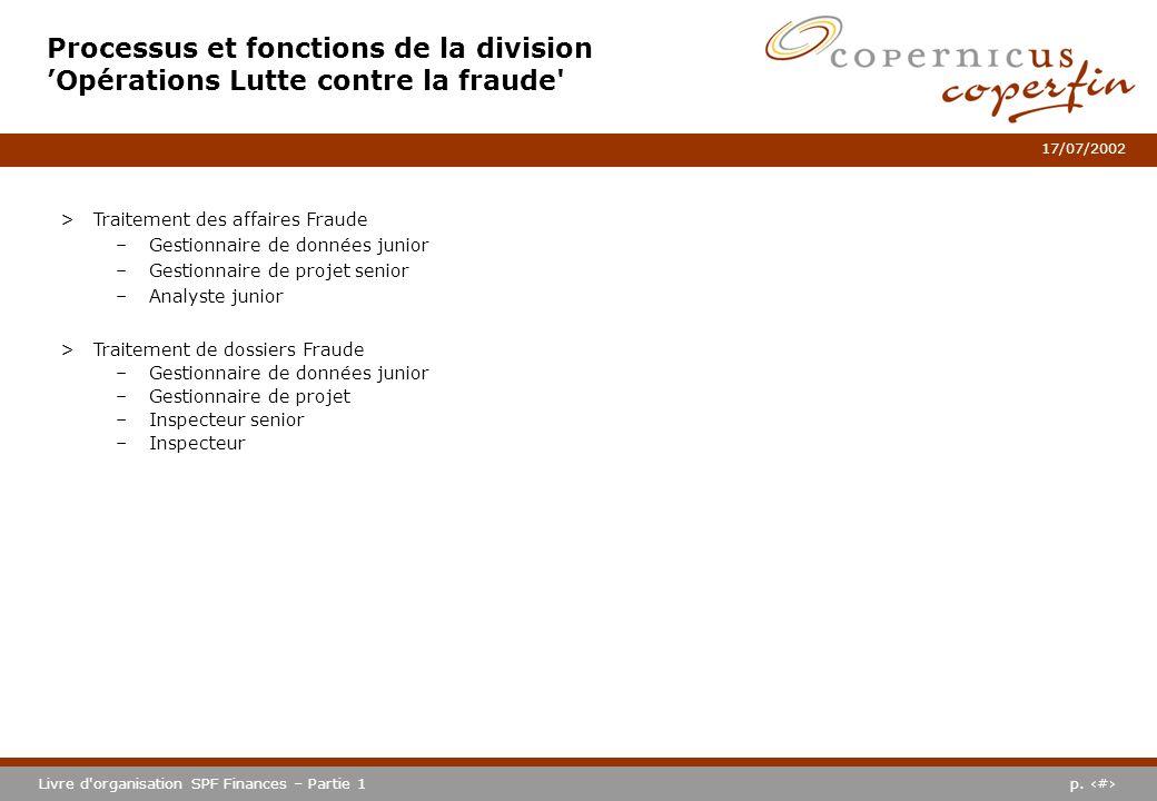Processus et fonctions de la division 'Opérations Lutte contre la fraude