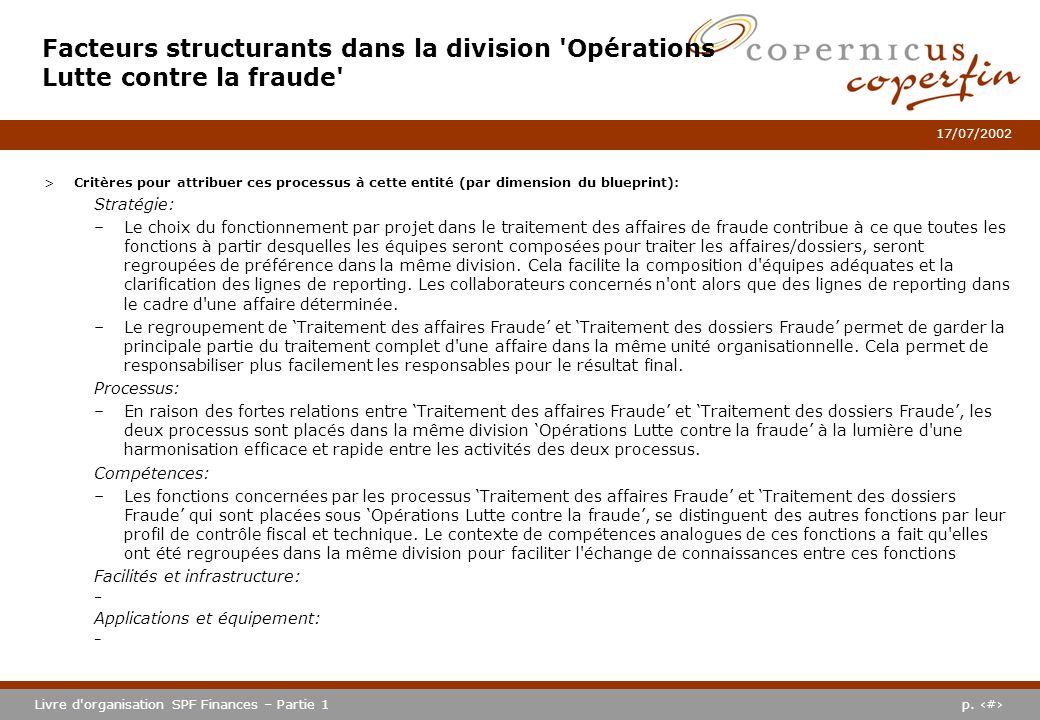 Facteurs structurants dans la division Opérations Lutte contre la fraude