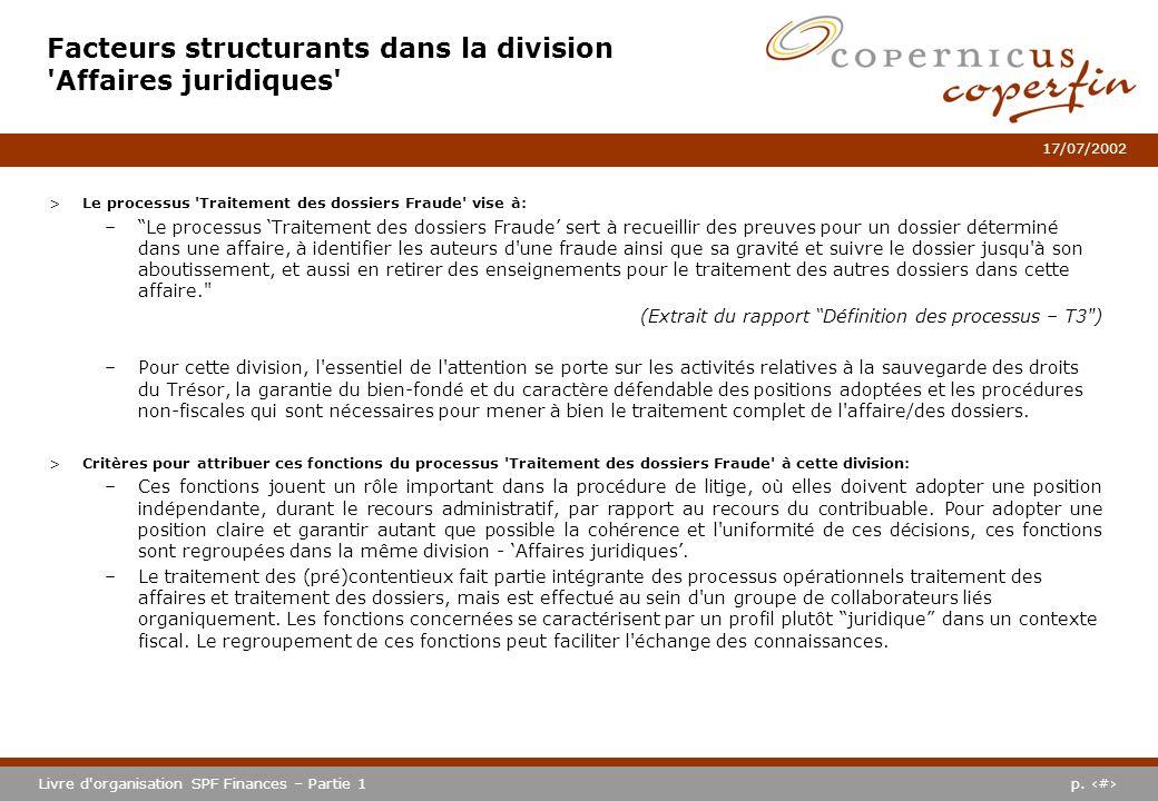 Facteurs structurants dans la division Affaires juridiques