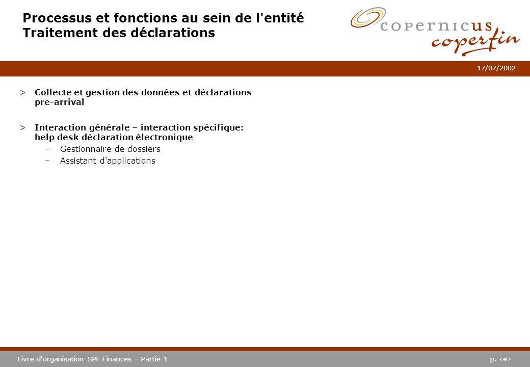 Processus et fonctions au sein de l entité Traitement des déclarations