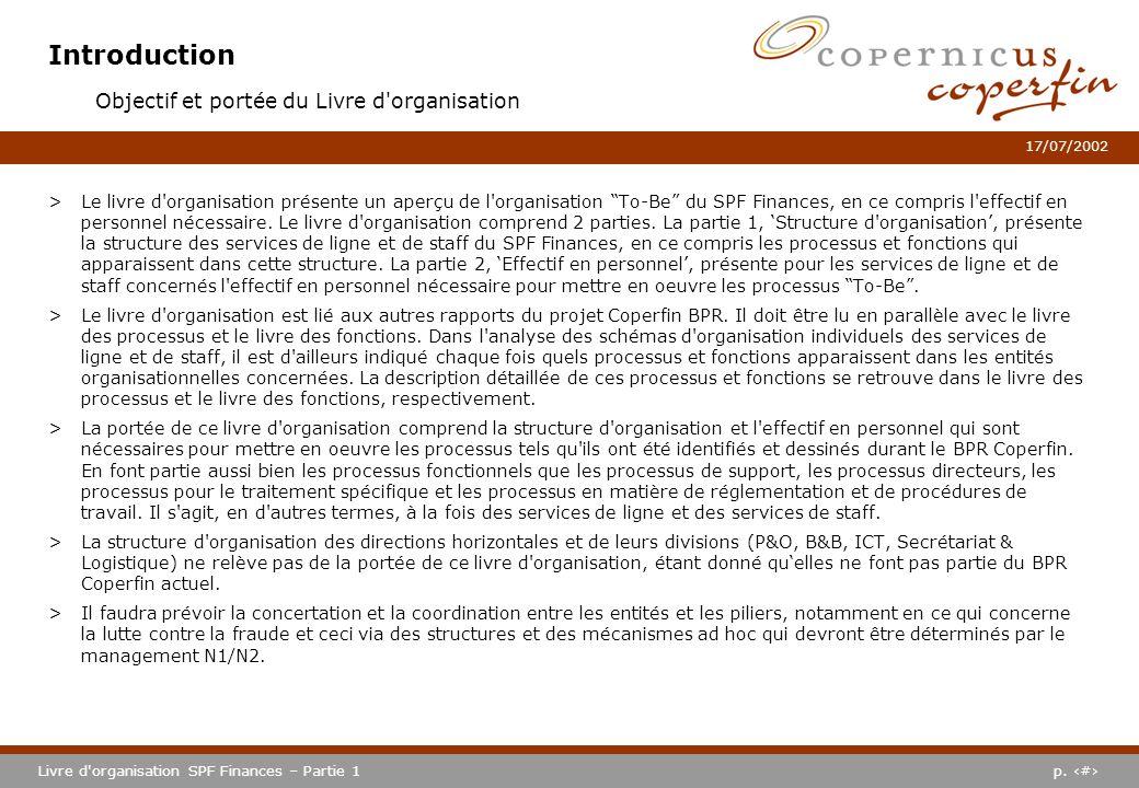 Introduction Objectif et portée du Livre d organisation
