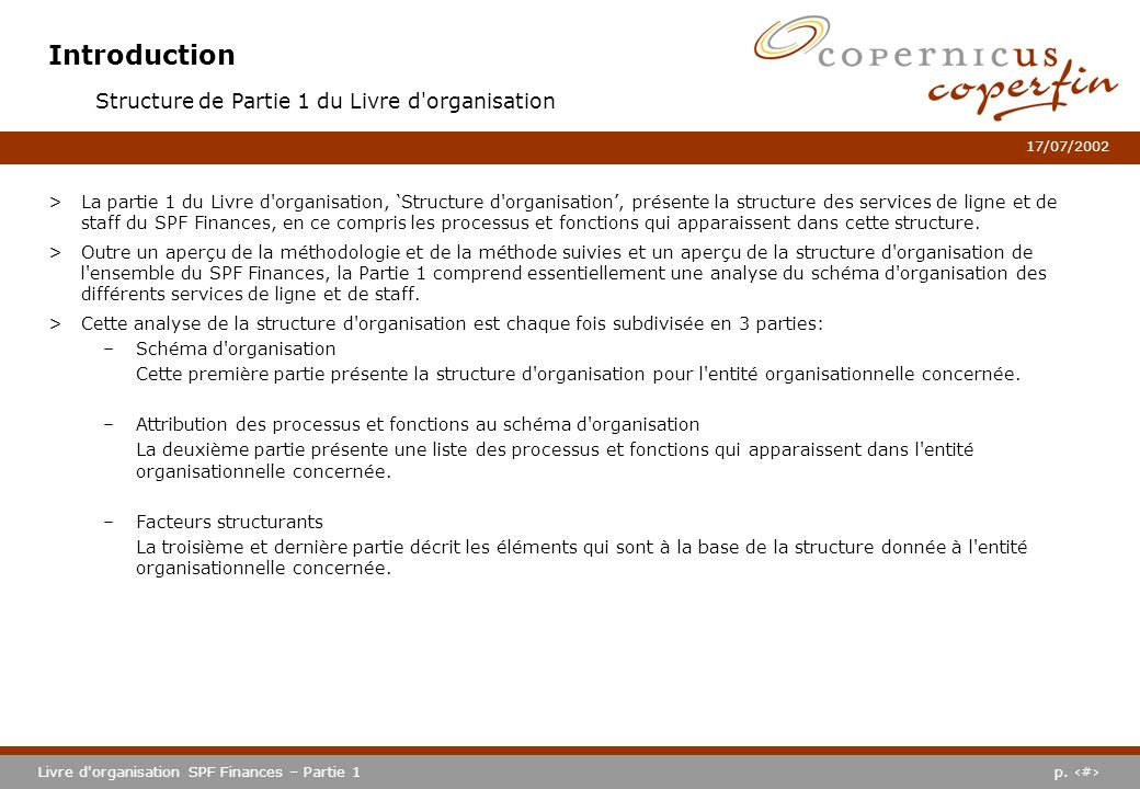 Introduction Structure de Partie 1 du Livre d organisation