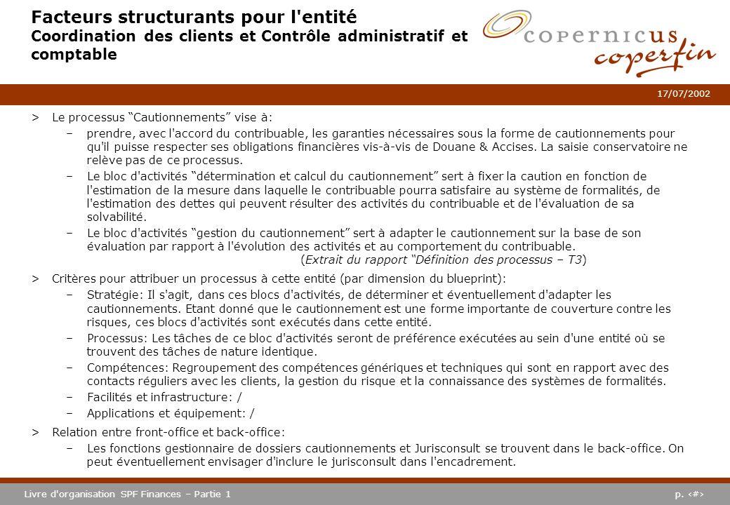 Facteurs structurants pour l entité Coordination des clients et Contrôle administratif et comptable