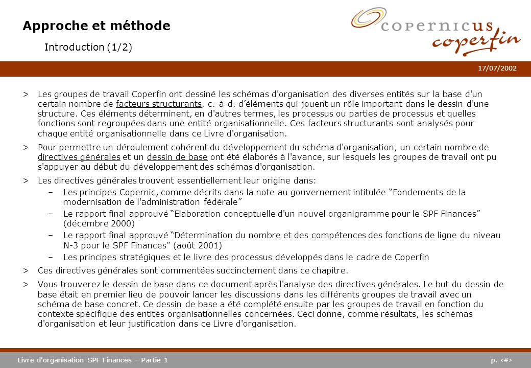 Approche et méthode Introduction (1/2)