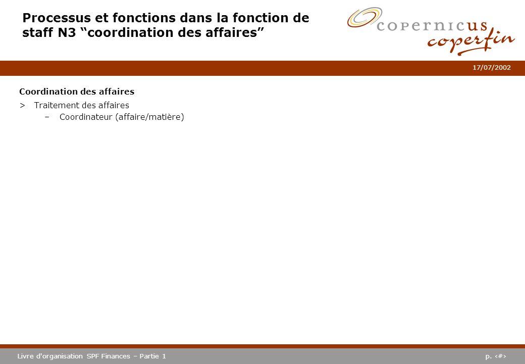 Processus et fonctions dans la fonction de staff N3 coordination des affaires