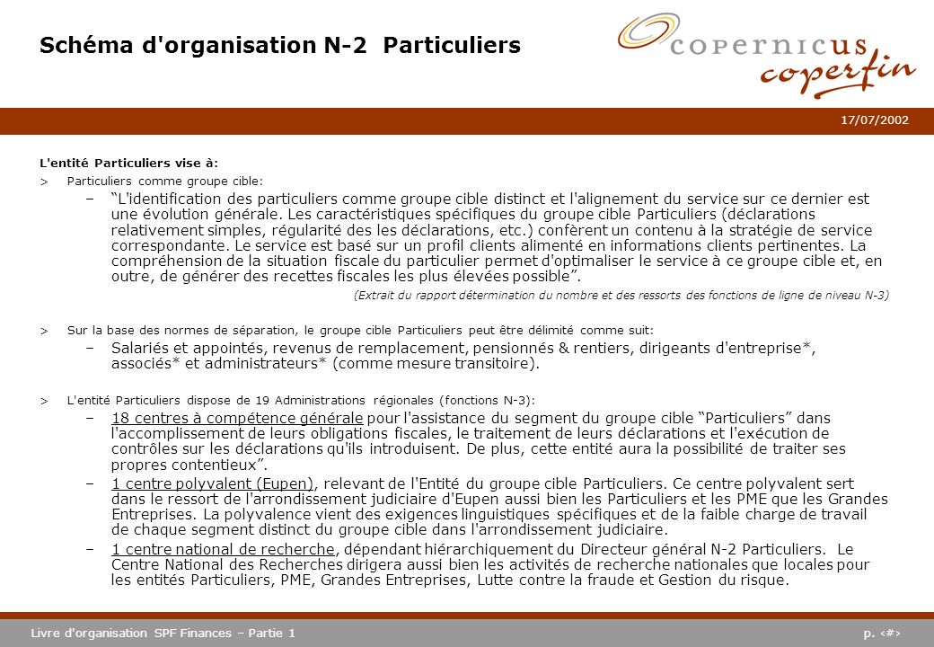 Schéma d organisation N-2 Particuliers