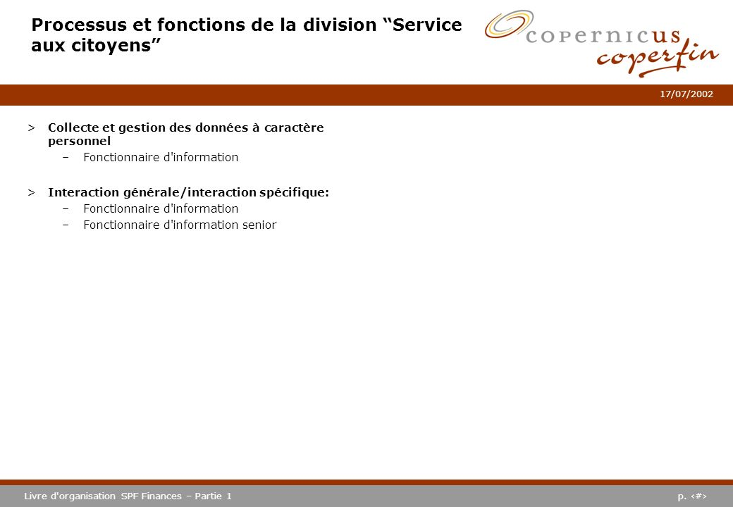 Processus et fonctions de la division Service aux citoyens