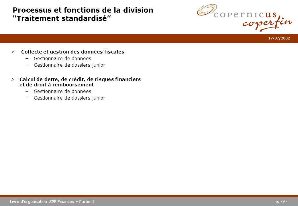 Processus et fonctions de la division Traitement standardisé