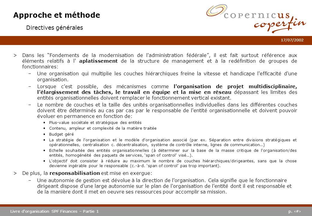 Approche et méthode Directives générales