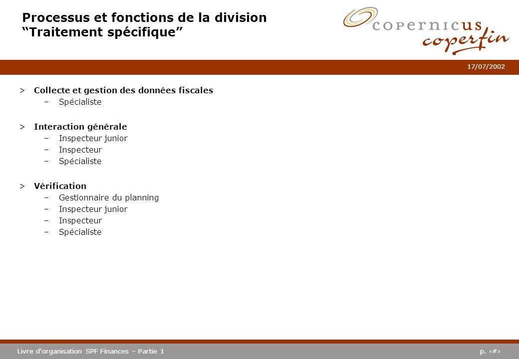 Processus et fonctions de la division Traitement spécifique