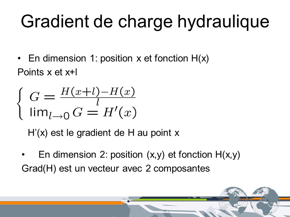 Gradient de charge hydraulique