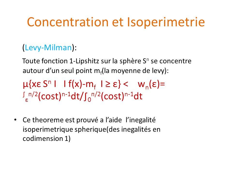 Concentration et Isoperimetrie