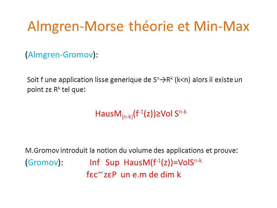Almgren-Morse théorie et Min-Max