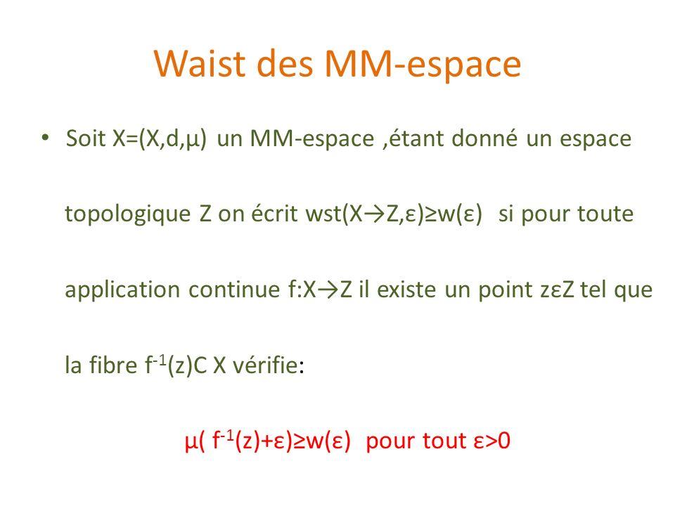 Waist des MM-espace Soit X=(X,d,µ) un MM-espace ,étant donné un espace