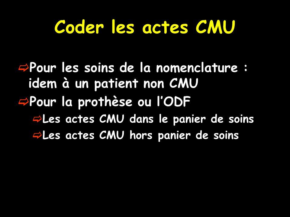 Coder les actes CMU Pour les soins de la nomenclature : idem à un patient non CMU. Pour la prothèse ou l'ODF.