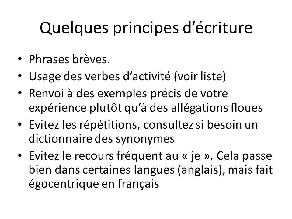 Quelques principes d'écriture