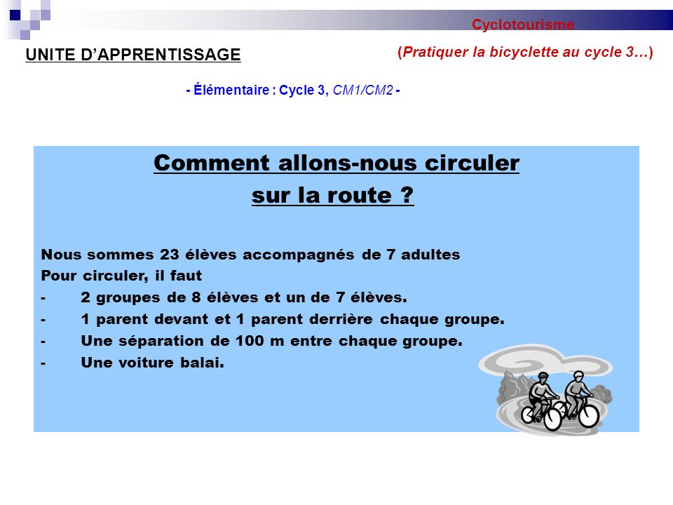 (Pratiquer la bicyclette au cycle 3…)