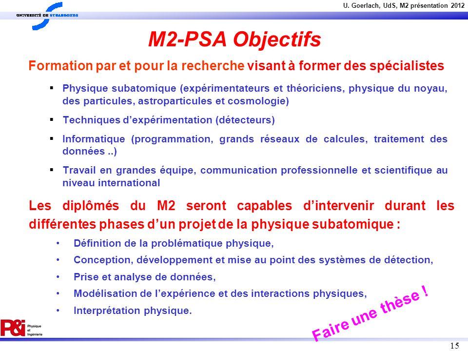 M2-PSA Objectifs Faire une thèse !