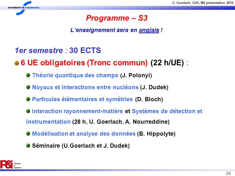Programme – S3 L'enseignement sera en anglais !