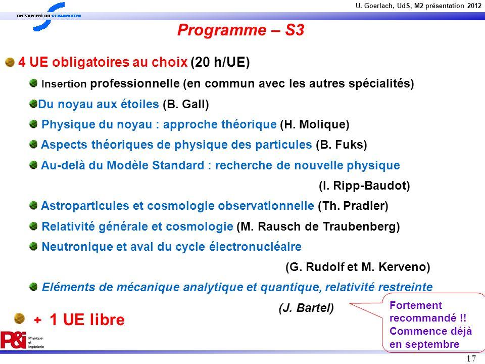Programme – S3 + 1 UE libre 4 UE obligatoires au choix (20 h/UE)