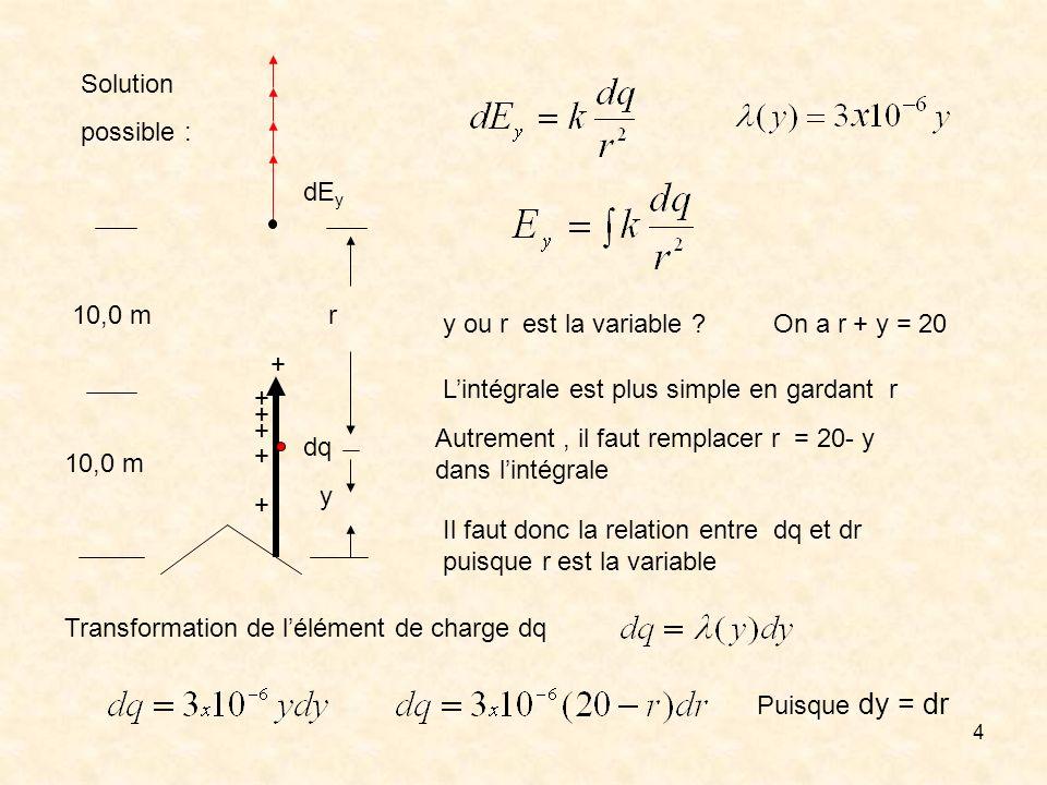 dEy + 10,0 m. dq. Solution. possible : r. y. y ou r est la variable On a r + y = 20. L'intégrale est plus simple en gardant r.