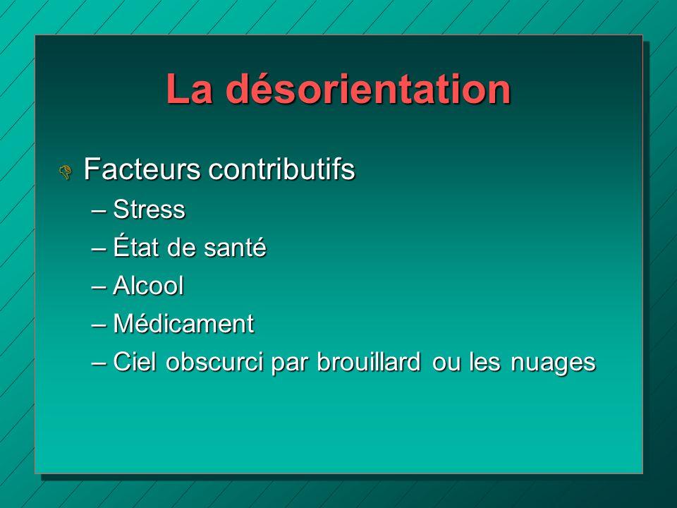 La désorientation Facteurs contributifs Stress État de santé Alcool