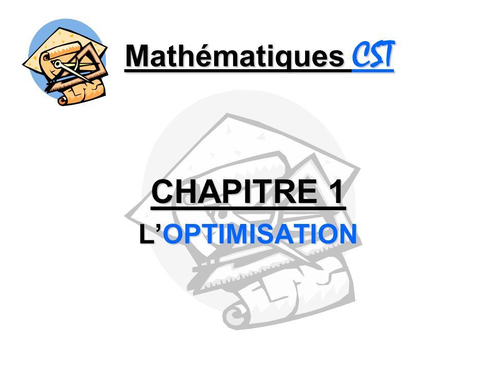 CHAPITRE 1 L'OPTIMISATION