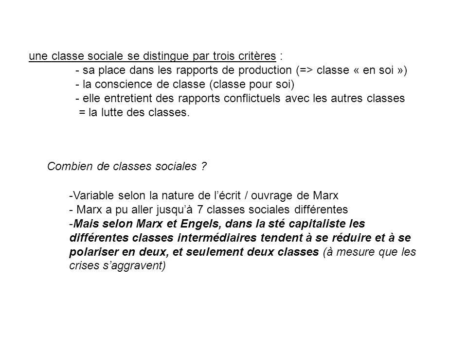 une classe sociale se distingue par trois critères :