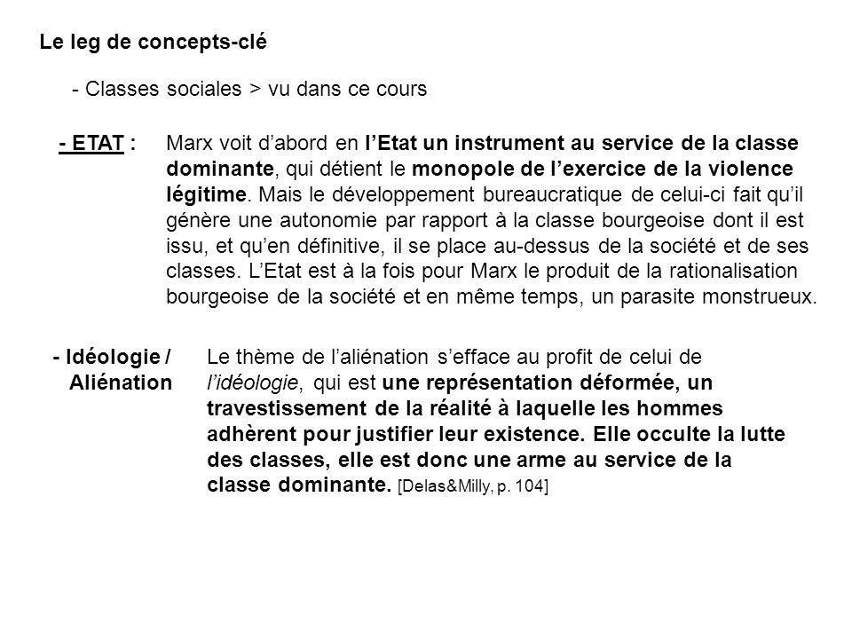 Le leg de concepts-clé - Classes sociales > vu dans ce cours. - ETAT :