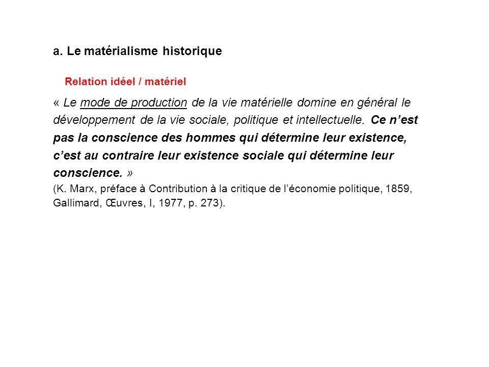 a. Le matérialisme historique
