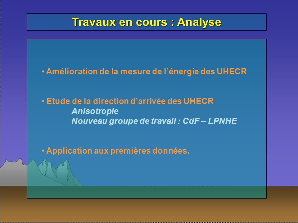 Travaux en cours : Analyse