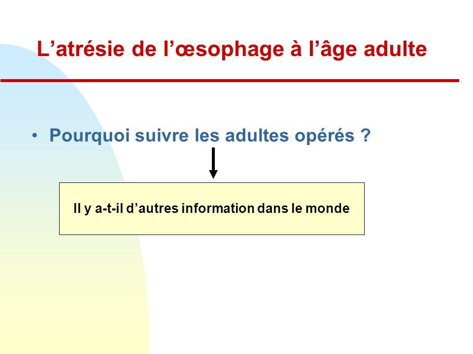 L'atrésie de l'œsophage à l'âge adulte