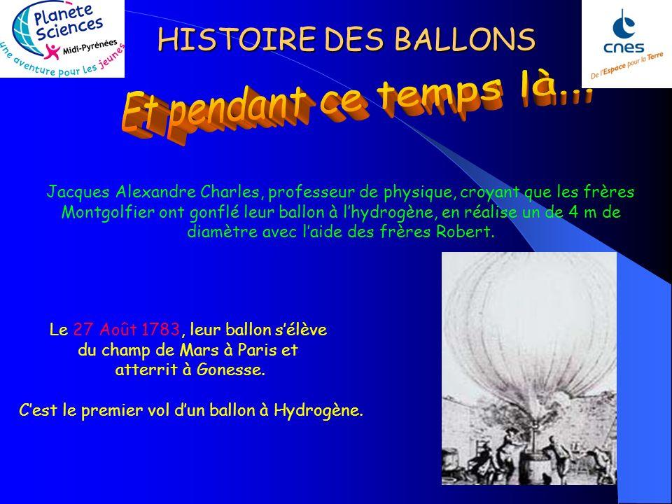 C'est le premier vol d'un ballon à Hydrogène.