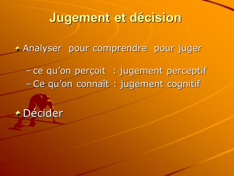 Jugement et décision Décider Analyser pour comprendre pour juger